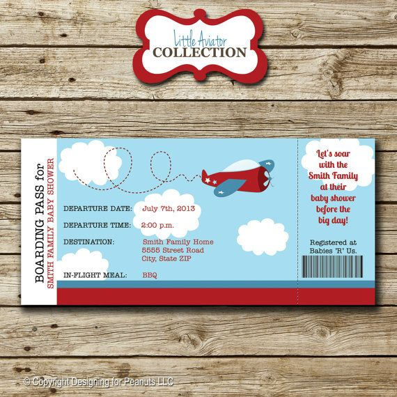 Airplane Ticket Invitation Baby Shower Boarding P Little Aviator Helicopter Digital Printable