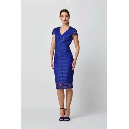 Super Kanten jurk met all over print blauw in 2020 - Kanten jurk blauw JF-17