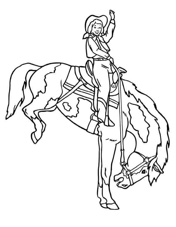 Cowgirl Doing Rodeo Coloring Page Kids Play Color Coloring Pages Cool Coloring Pages Horse Coloring