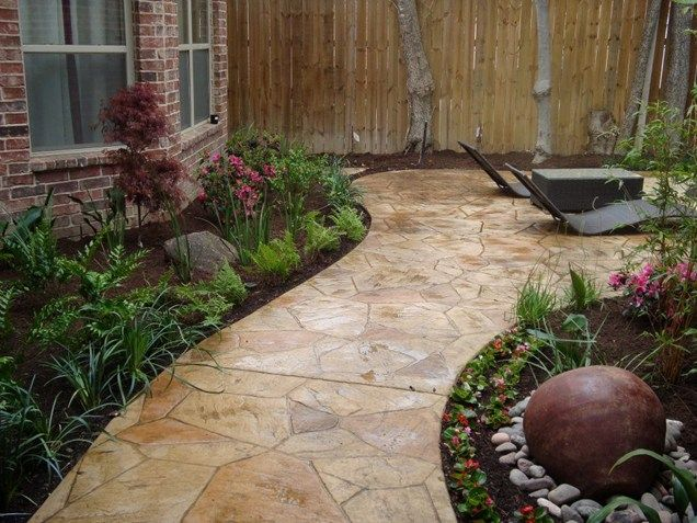 Faux flagstone walkway texas landscaping southwest for Garden design landscaping dallas tx