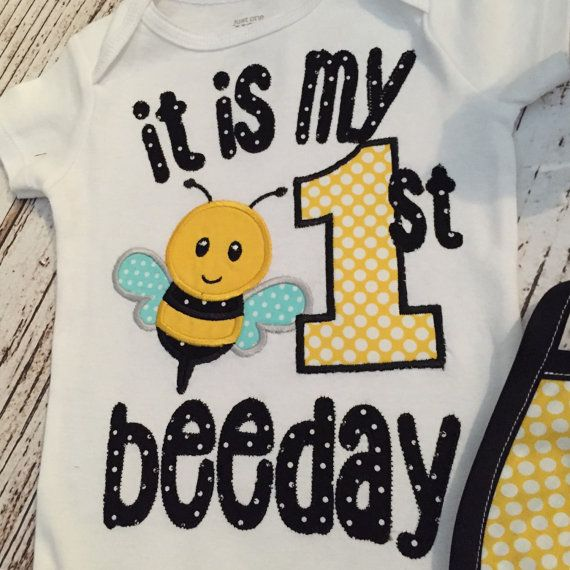 Its My First BeeDay Bumble Bee Birthday Onesie By Polkadotologie