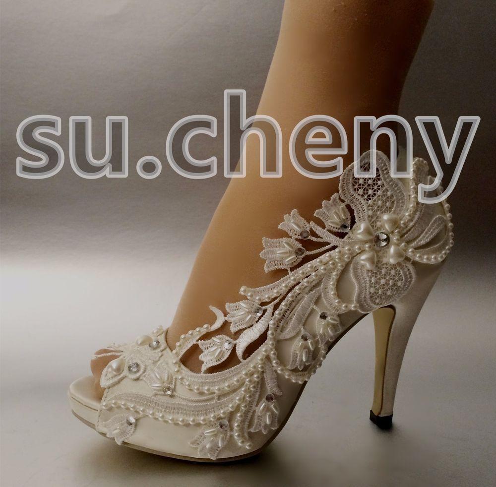 Su Cheny 3 4 Heel Satin White Ivory Lace Flower Peep Toe Wedding Shoes Size 5 11 Ebay Pearl Wedding Shoes Peep Toe Wedding Shoes Wedding Shoes Pumps