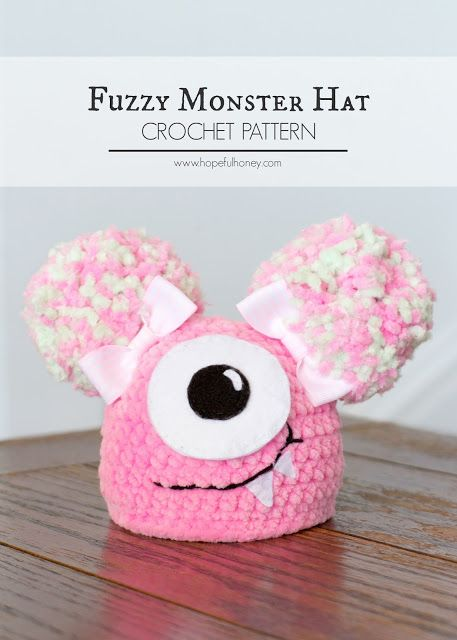 Newborn Fuzzy Monster Hat Free Crochet Pattern Pinterest
