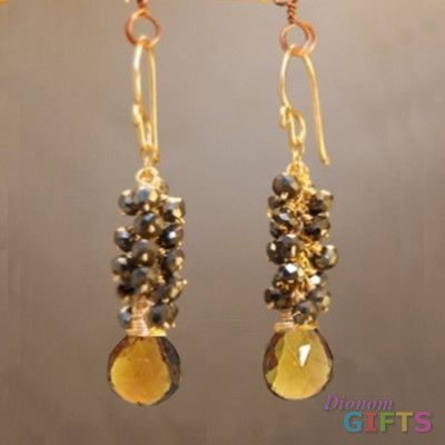 "Clusters of black spinel and whiskey quartz, 1-3/4"" Earring Gold Or Silver"
