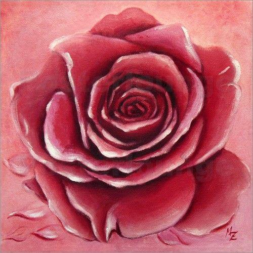 """""""Rote Rosenblüte"""" Original Ölgemälde gemalt auf Keilrahmen - als Kunstdruck in verschiedenen Größen bei Posterlounge http://www.posterlounge.de/rosenbluete-malerei-pr515506.html"""