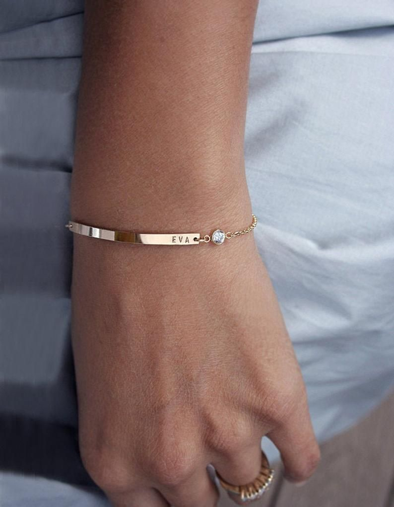 Gold Bar Bracelet Personalized Personalized Birthstone Bracelet Personalized Jewelry For Mom Diamond Name Bracelet Luca Jewelry Gold Bar Bracelet Moms Bracelet Bar Bracelets