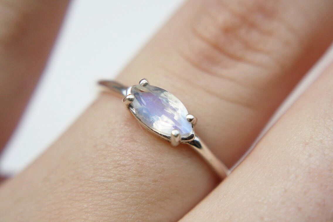 Dainty Faceted Marquise Moonstone Ring in sterling silver - sterling silver moonstone ring - faceted moonstone ring - silver moonstone ring by theBEAline on Etsy https://www.etsy.com/listing/238945369/dainty-faceted-marquise-moonstone-ring