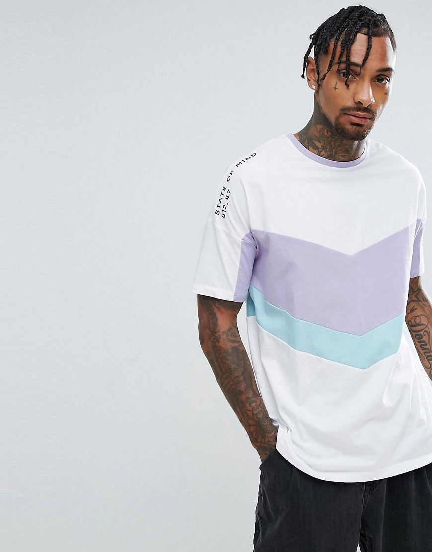 ASOS Oversized T-Shirt With Text Print And Color Block Panels - White