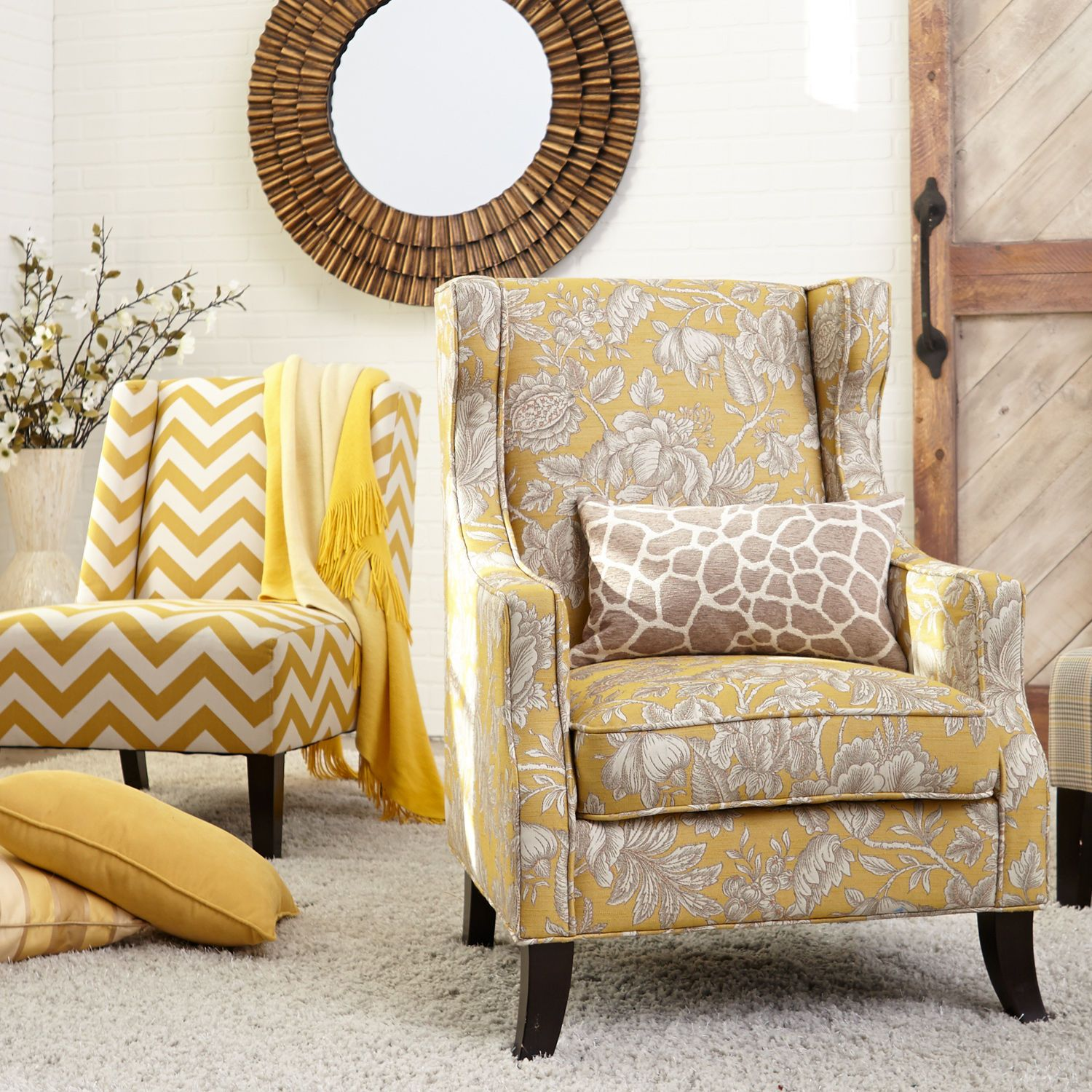 Alec Wing Chair Gold Floral Chair Wing Chair Convert Dining Room Pier living room chairs