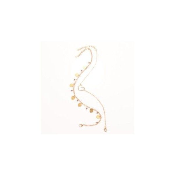 Heart-Accent Double-Strand Anklet ($4.90) ❤ liked on Polyvore featuring jewelry, accessories, bracelets, chains jewelry, heart jewellery, heart anklet, heart jewelry and anklet jewelry