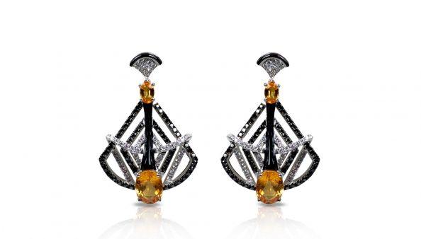 Art Deco drama yellow sapphire and diamond earrings Sharart Design by Sharlinn Liew : Award Winning Designer| Singapore | Bangkok, Thailand | Designer Jewellery Sharat|