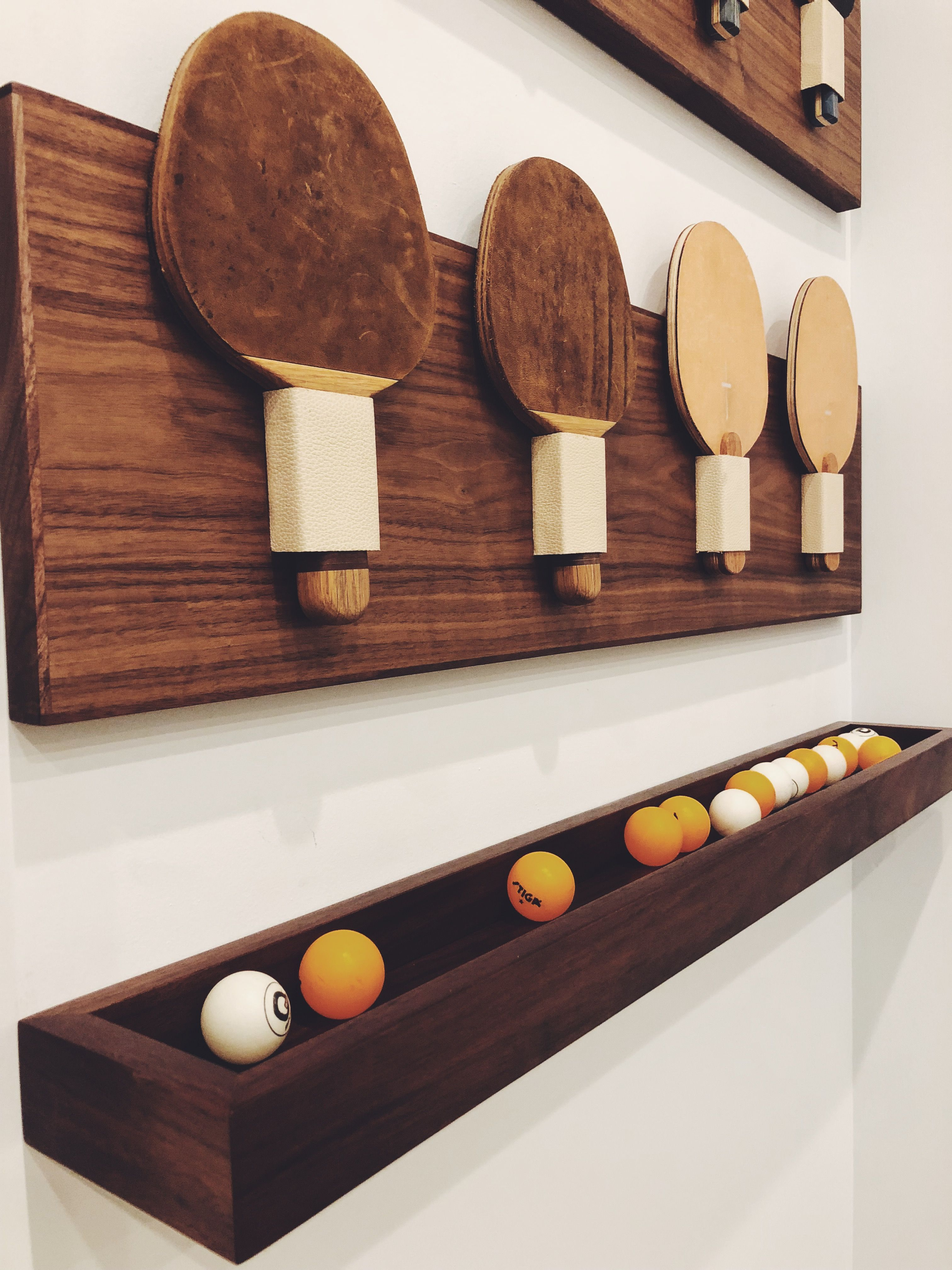 Ping Pong Paddle And Balls Holder Made In Walnut Sharing