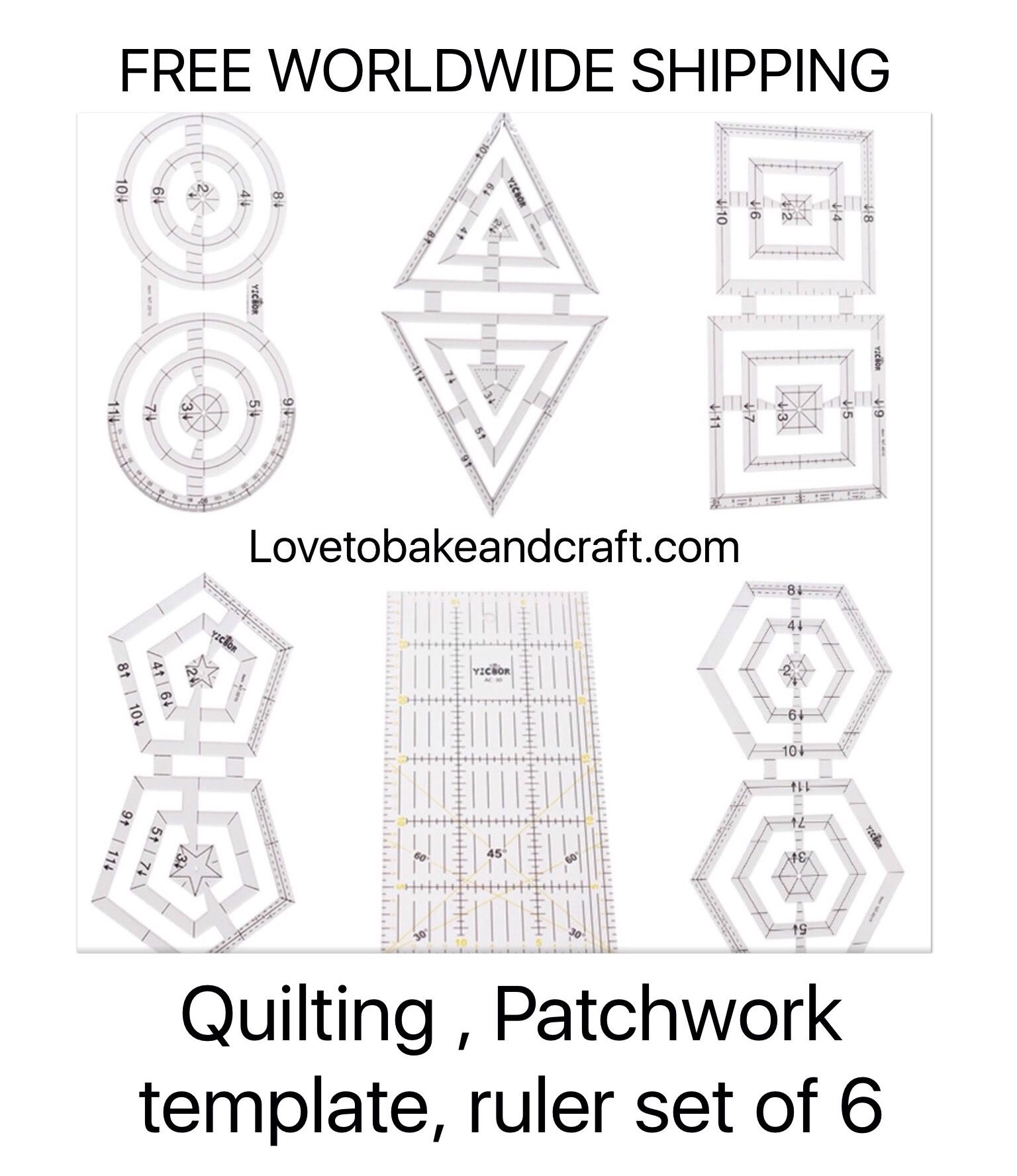 Acrylic patchwork ruler #patchworkruler #quiltingruler #