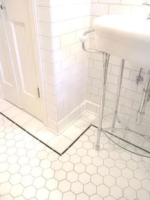 White Flooring With Black Outline Vintage Bathroom Tile Classic Bathroom Tile Classic Bathroom