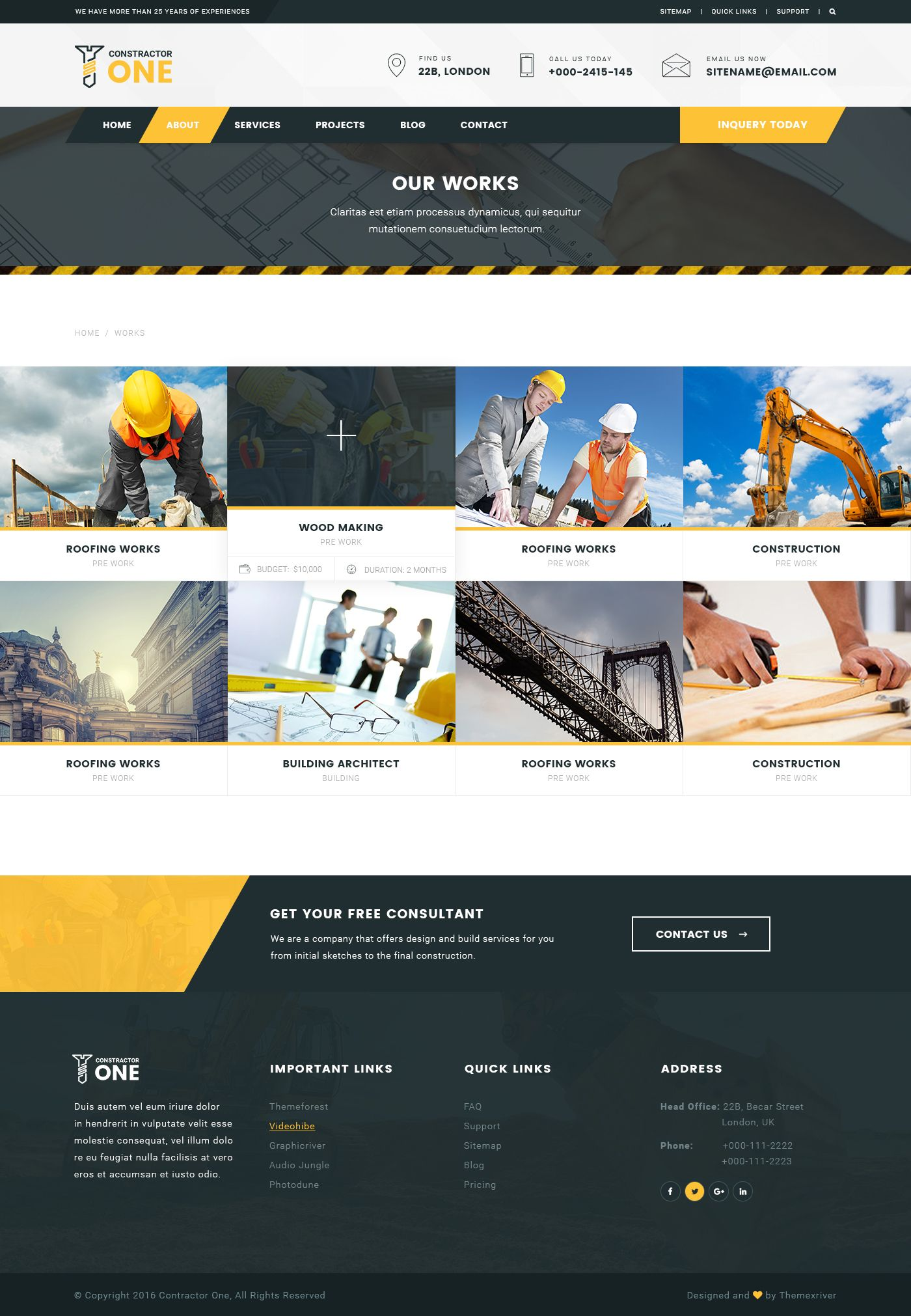 Constructor One Construction Psd Template Service Design