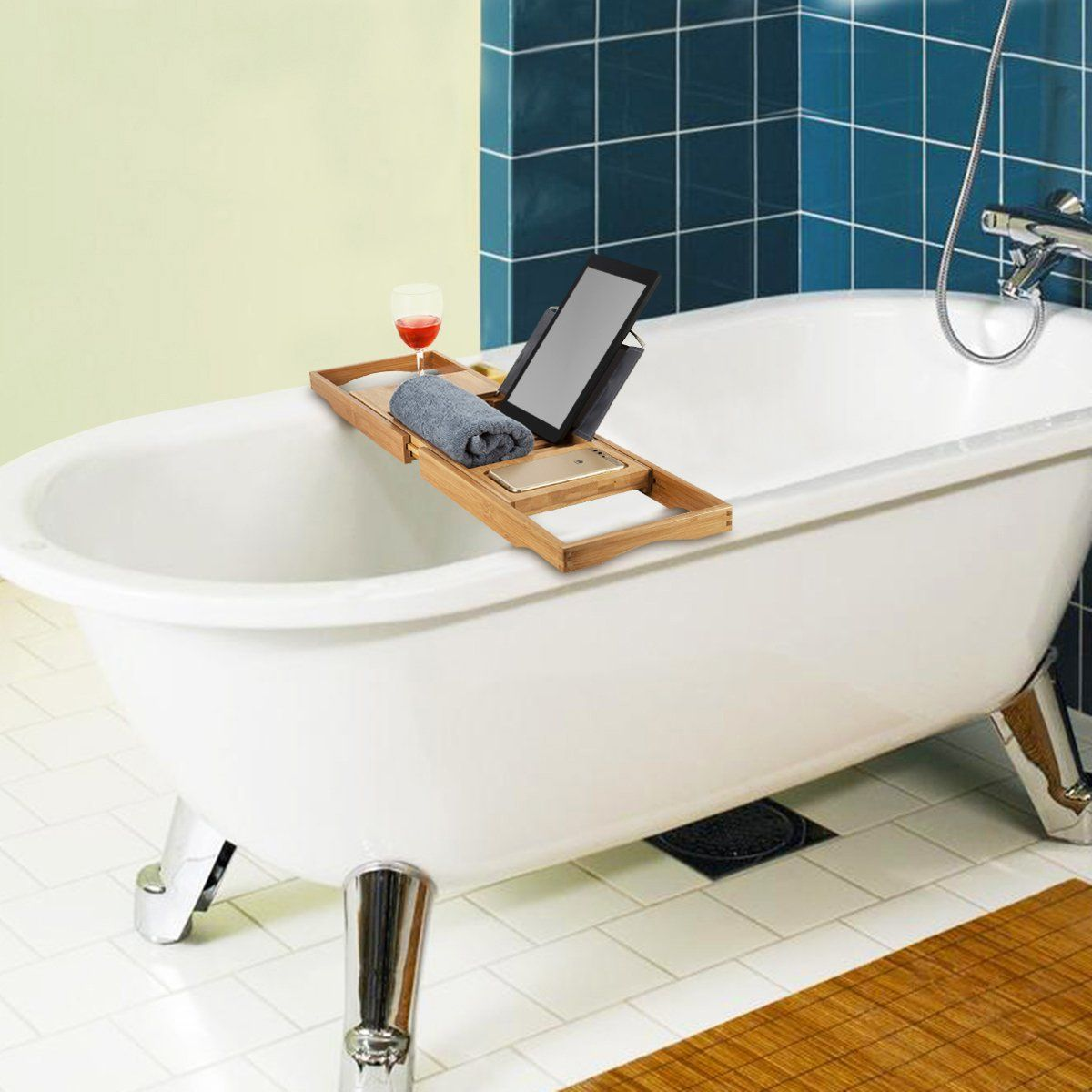 WITASM Bamboo Bath Caddy Bathtub Tray with Book Tablet iPad Phone ...