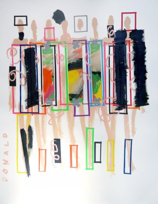 Donald Robertson, Good Bone Structure, 2014, Acrylic and Gaffer Tape on Paper, 60 x 48 in, DDR607