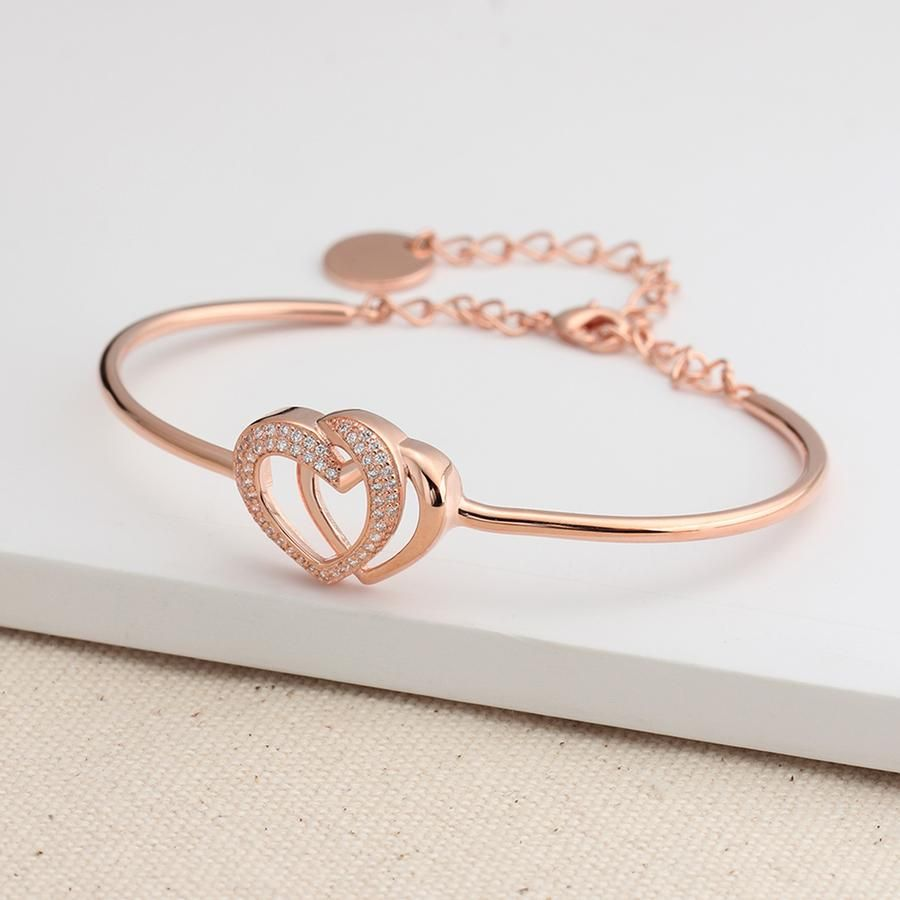 Aiko trendy rose gold pave crystal heart bangle chain bracelet in