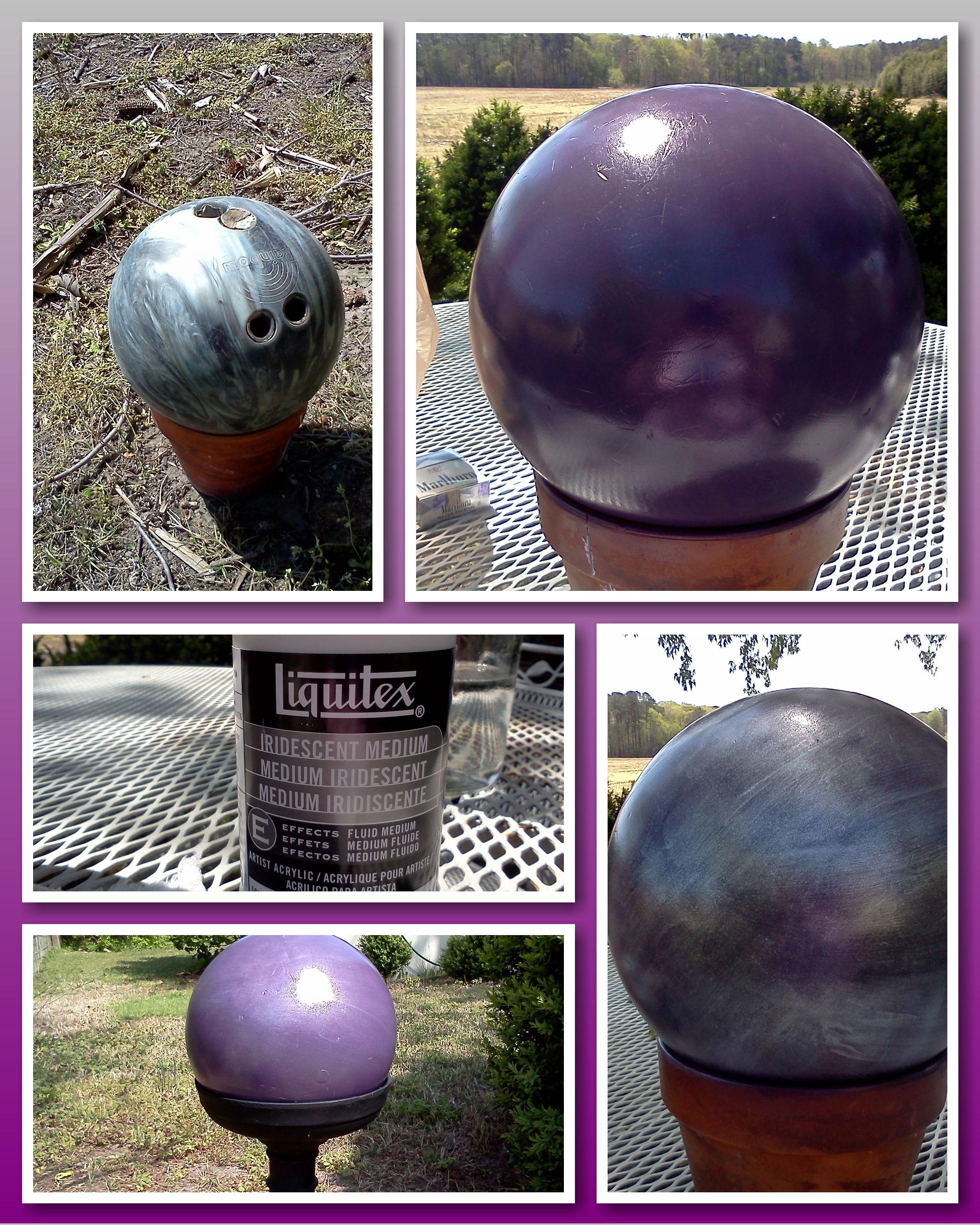 Re Purposed An Old Bowling Ball Into A Gazing Ball For My Yard