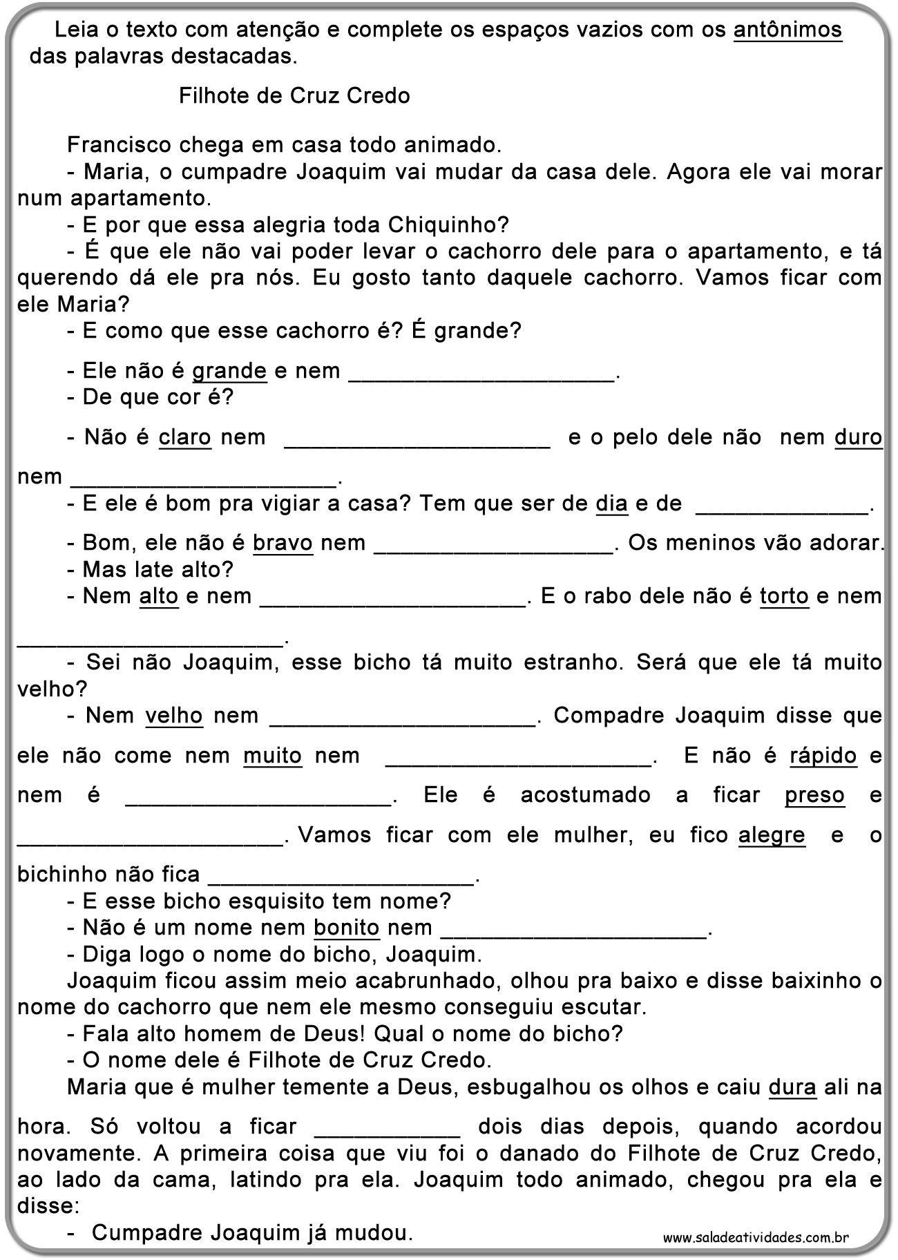 Atividades De Sinonimos Antonimos E Homonimossala De Atividades