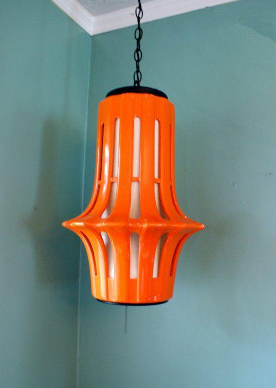 Vintage Orange Ceramic Hanging Swag Lamp Fixture 1960s Mod Vintage Lamps Swag Lamp Retro Furniture Design