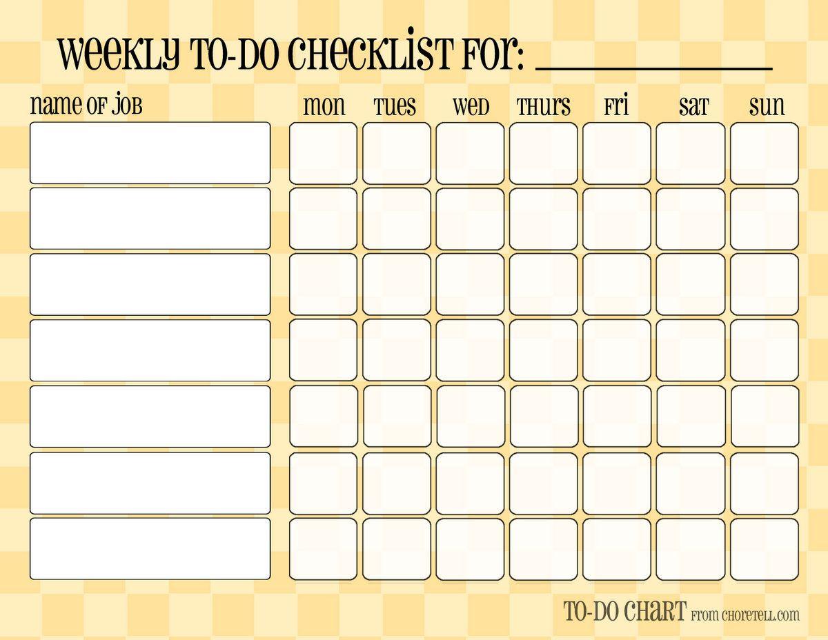 chores calendar template