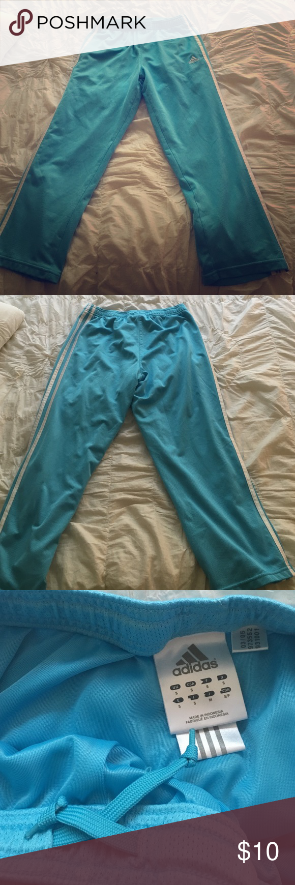 Adidas Baby Blue Capri Track Pants Adidas baby blue capri soccer track pants, size small. Ties at the waist! Adidas Pants Ankle & Cropped