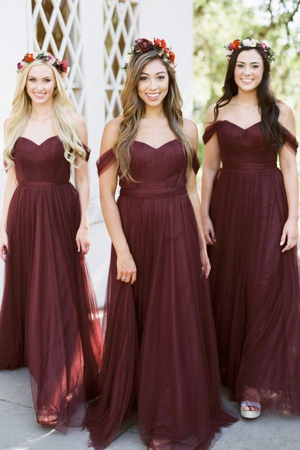 5ef674a258 Fanciest Womens Off The Shoulder Tulle Long Bridesmaid Dresses 2018 Wedding  Party Dress Gray     For more information