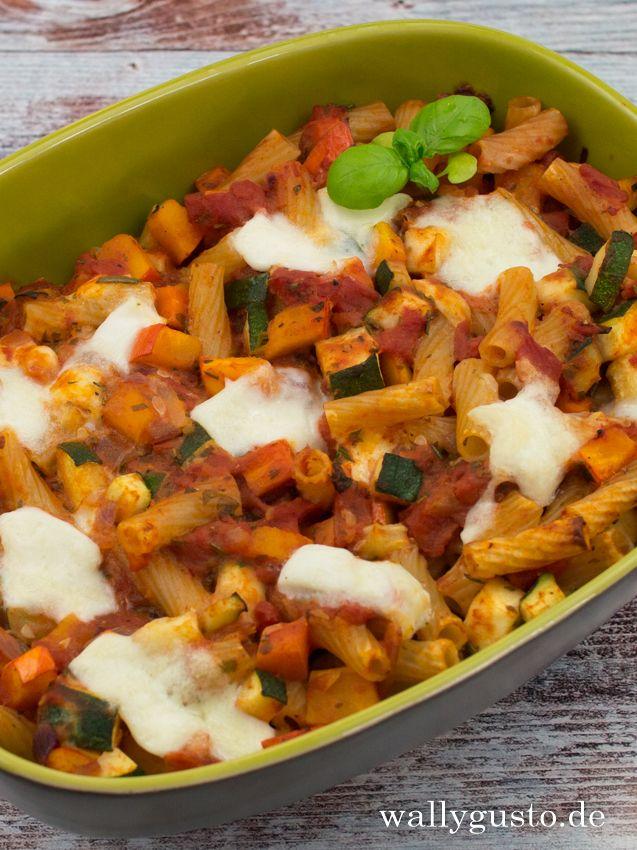 Kürbis-Zucchini-Auflauf mit Nudeln #zucchinipastarecipes