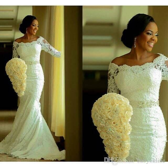 Wedding Dress Wholesale Ivory South African Mermaid Lace Nigerian Weddings Fashion Ankara And