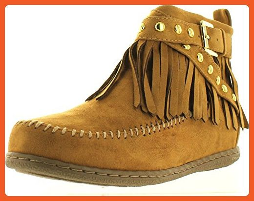 55dde42494e98 Soda Women's Dahlia Faux Suede Moccasin Fringe Wedge Ankle Booties ...