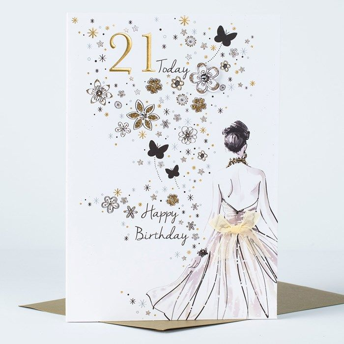 21st birthday card golden girl golden dress card factory and this wonderful card is perfect for wishing someone a fabulous 21st birthday featuring a lady bookmarktalkfo Choice Image