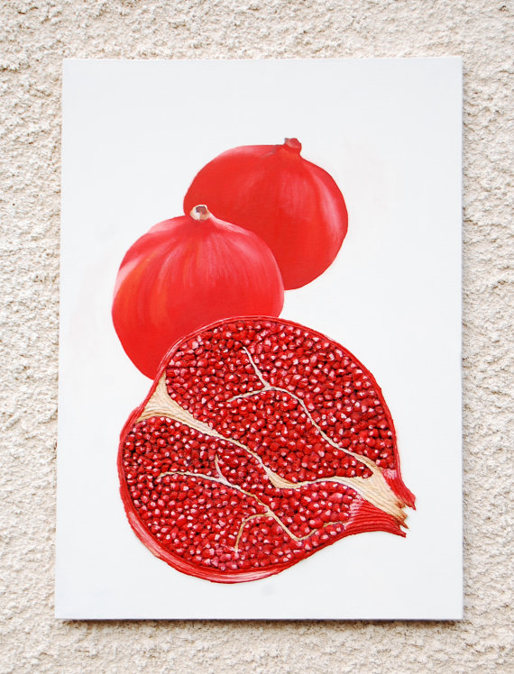 Pomegranate 3D Painting   Red Fruit Textured Abstract Botanical Kitchen  Wall Art   Perfect Gift
