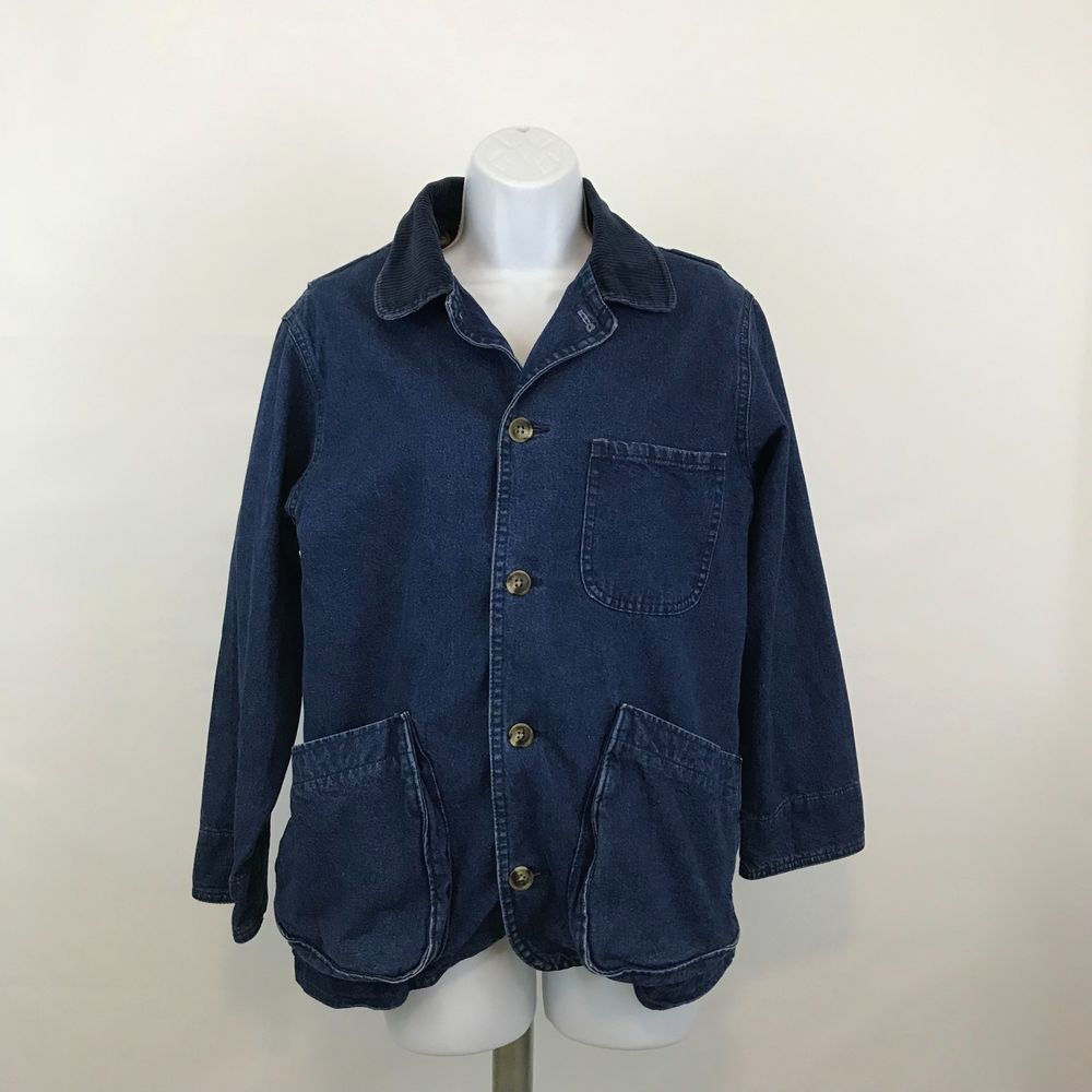 Vintage lands end womens field barn chore jean jacket coat removable