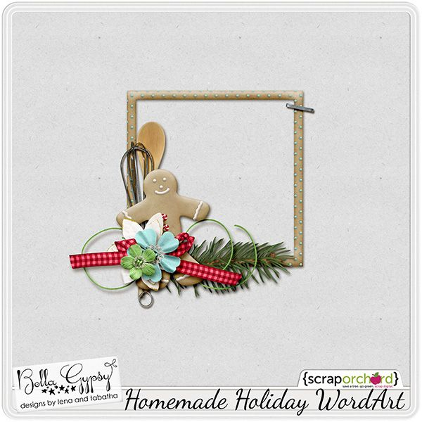 Cluster Frame Freebie that coordinates with the Homemade Holiday Scrapbooking kit by Bella Gypsy Designs at Scrap Orchard.
