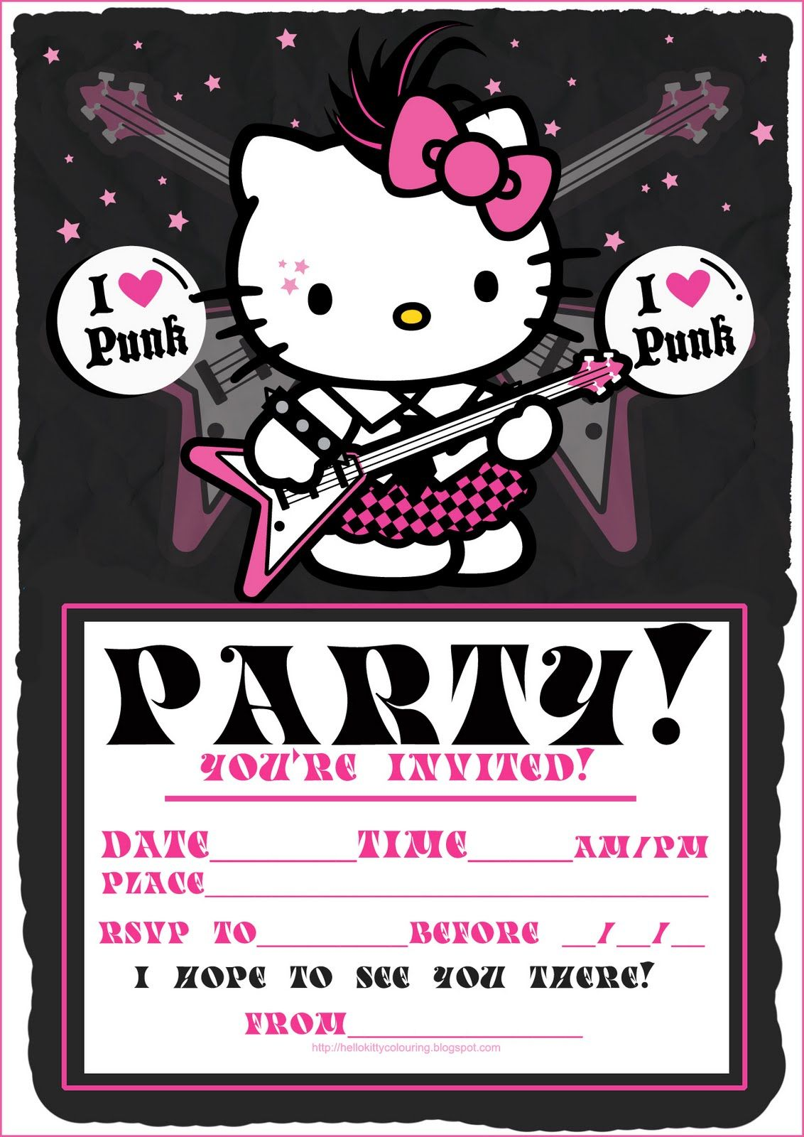 Free Hello Kitty Party Invitation 1 132 1 600 Pixels
