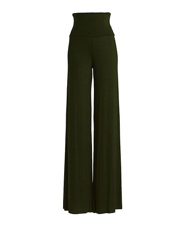 Another great find on #zulily! Olive Fold-Over Palazzo Pants by Chalmon's #zulilyfinds