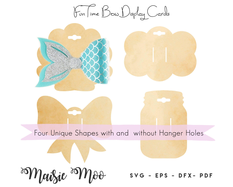 Bow Card Svg Mason Jar Bow Display Card Hair Clip Card Dxf Etsy Bow Display Display Cards Hair Bow Display