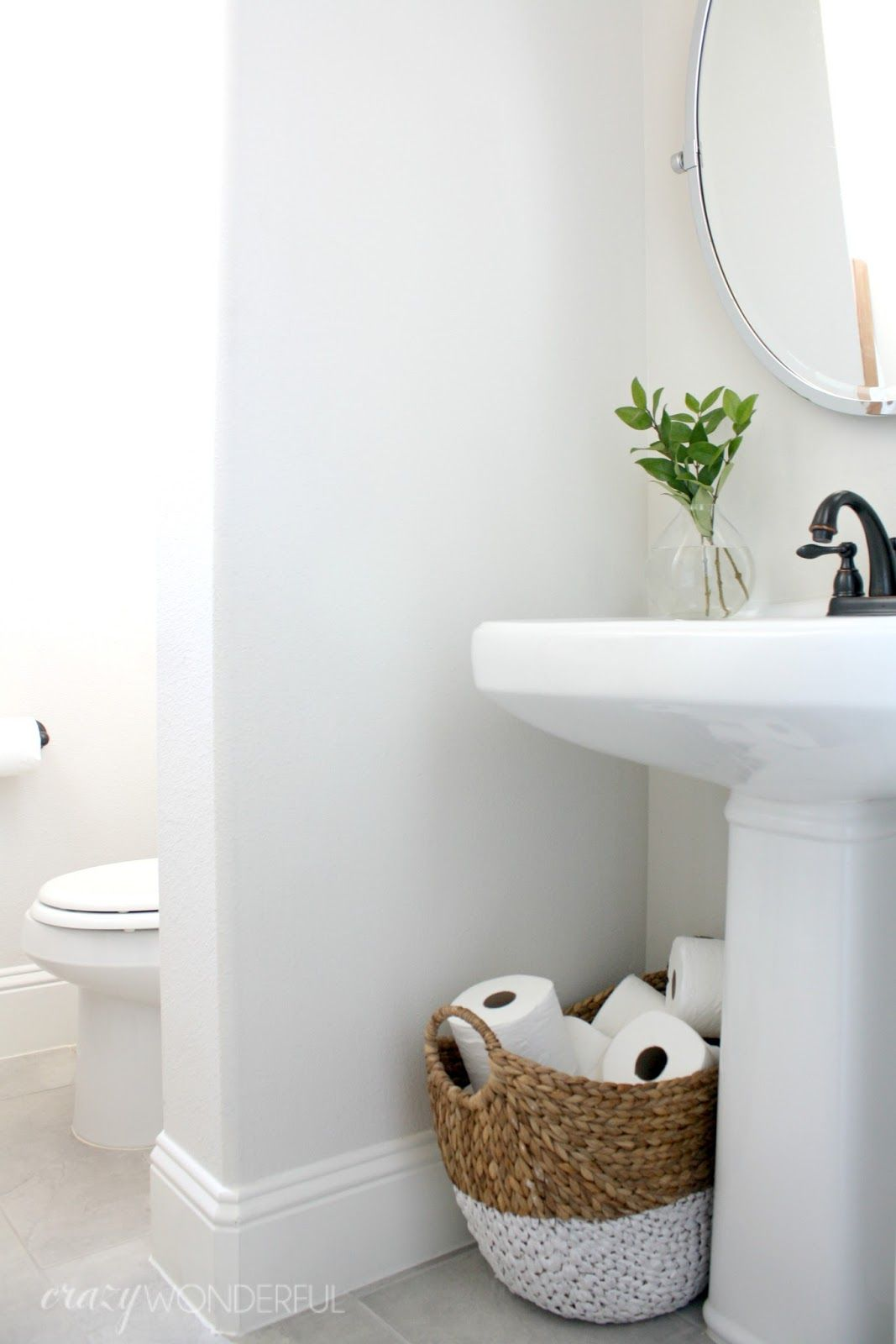 I Guess The Fancy Term Is Powder Room But We Just Call It The Hall Bathroom I Ve Not Purposely Been Holding This Bathroom From You Powder Room Storage Bathroom Sink
