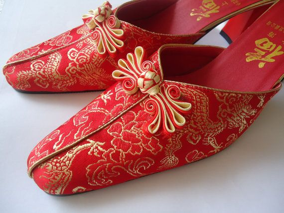 classic Women/'s Chinese Embroidered Ankle Boots Floral Chunky Heel Wedding Shoes