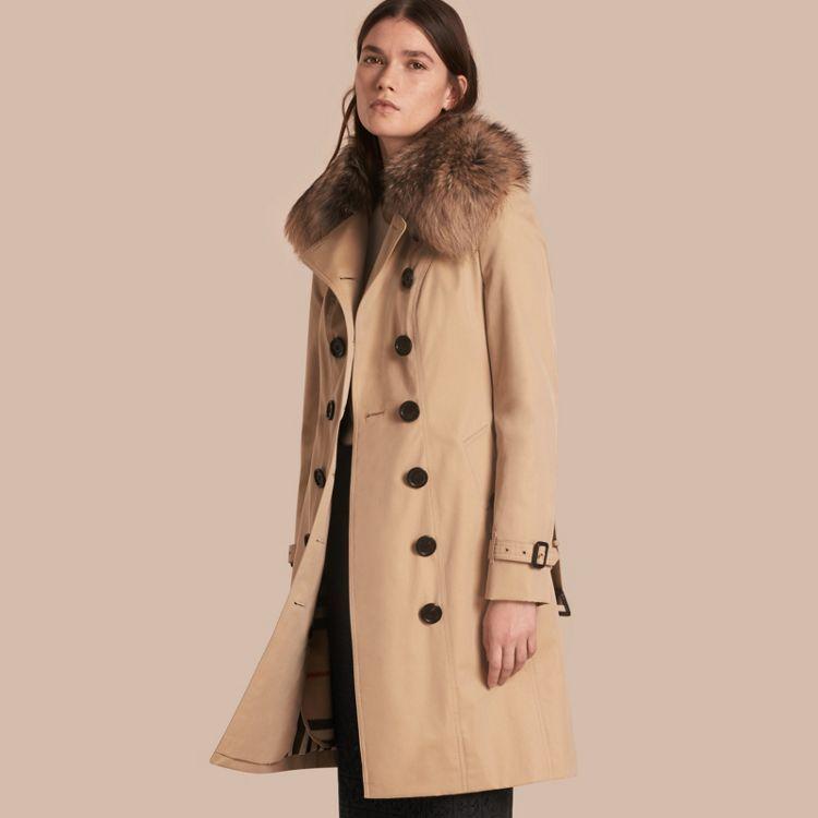 e41c8bac8e05 Cotton Gabardine Trench Coat with Detachable Fur Trim