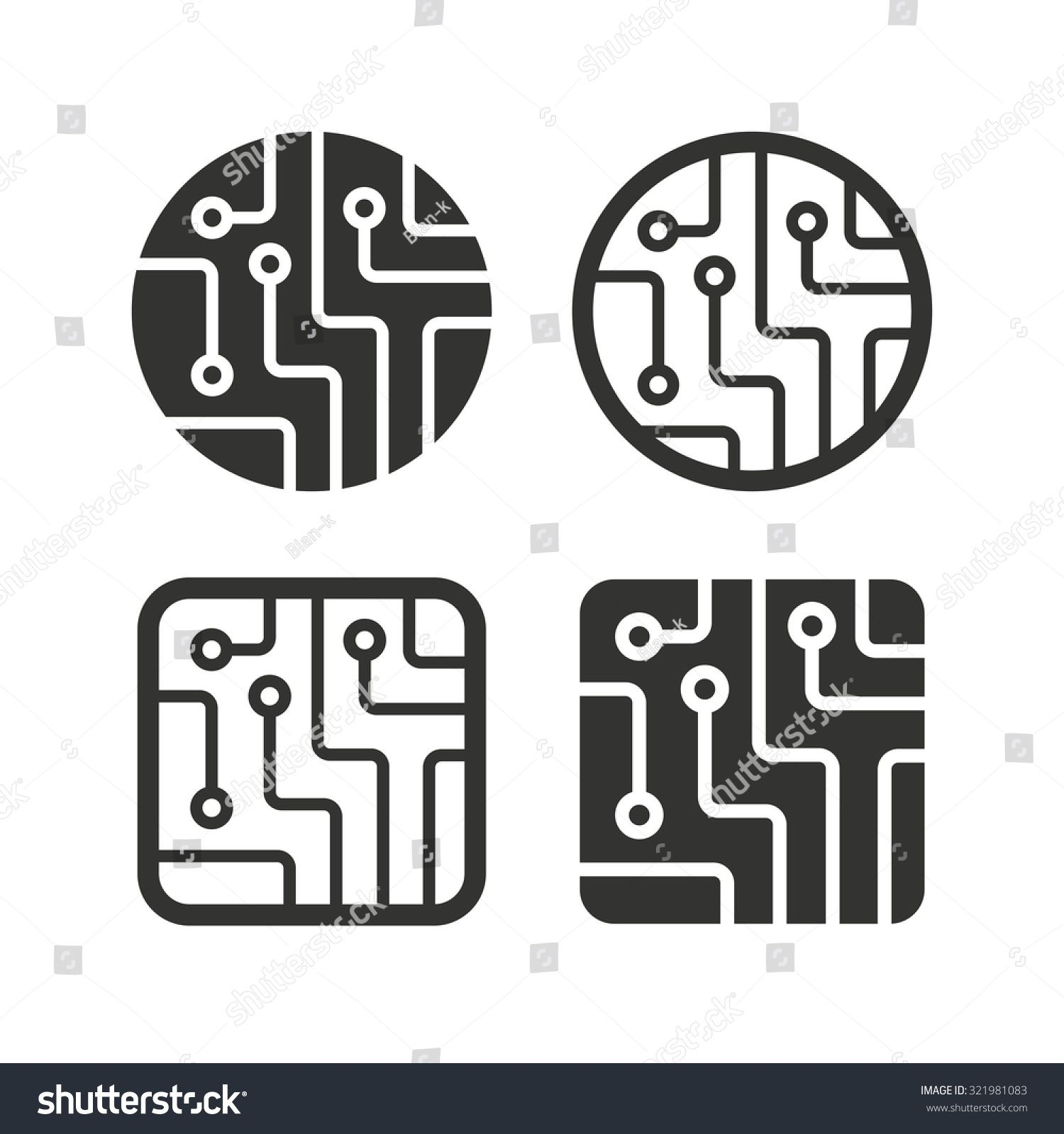 Circuit Board Icons Technology Scheme Circles And Squares