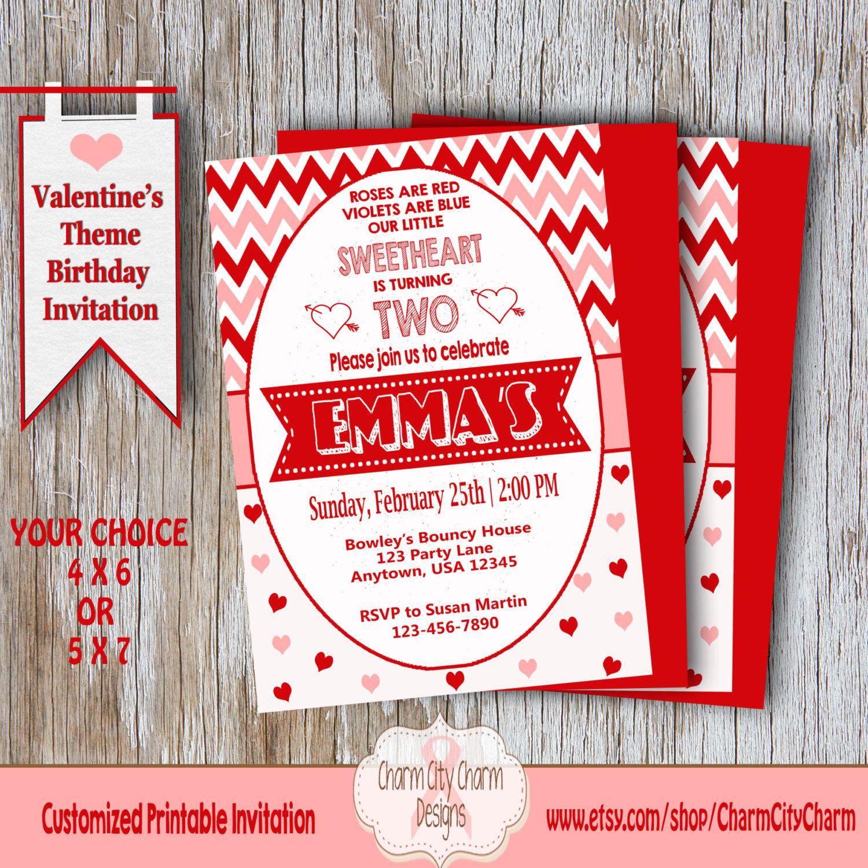 Sweetheart Birthday Invitation, Valentine\'s Second Birthday ...