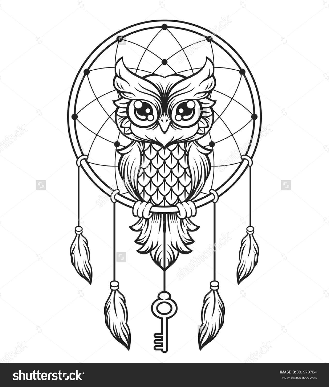dream catcher black and white owl vector line illustration
