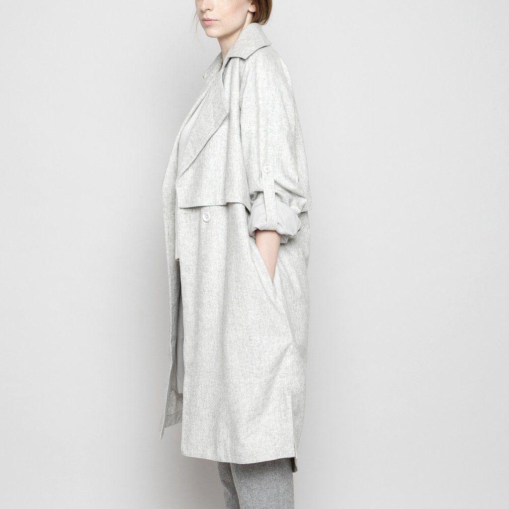 Wool Trench Coat - Light Gray FW16 | 7115 by Szeki