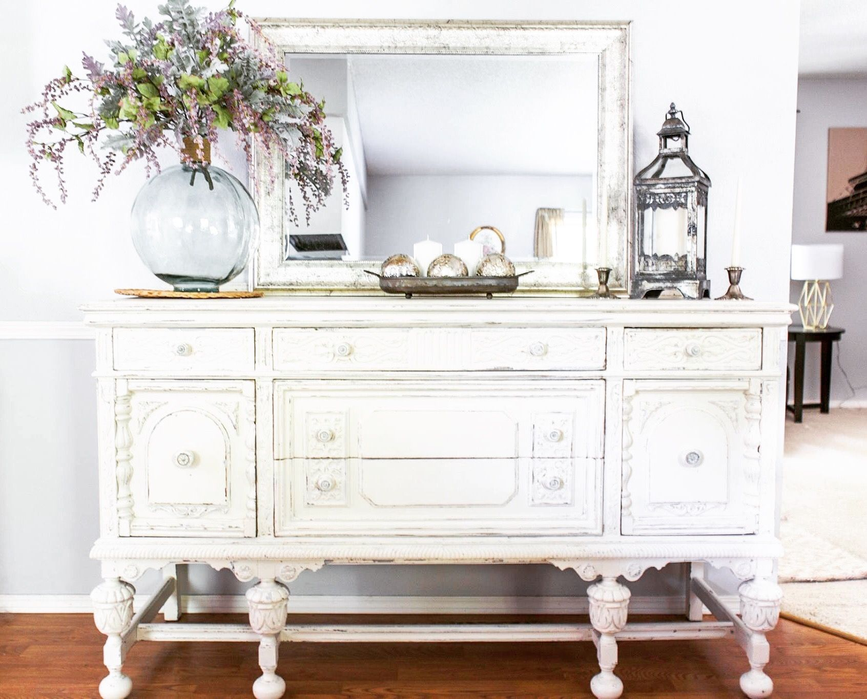 White Antique Buffet Pretty Dining Room Decor And Storage