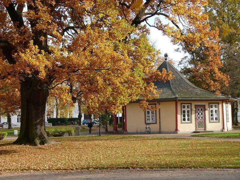 Herbstliche Malreise an die Ostsee   Roter Pavillon auf dem herbstlichen Kamp (c) FRank Koebsch (3)