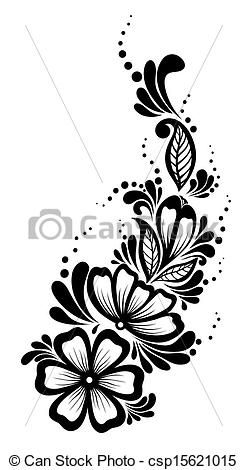 Attrayant Black And White Flowers And Leaves Design Element. Floral
