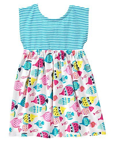 4c94bda94ae3 Gymboree Baby Toddler Girls Stripe Fish Print Mix Dress Multi 1824 Months *  ON SALE Check it Out