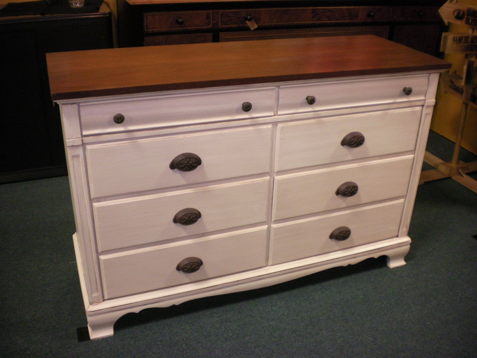 Dresser Painted Navajo White With Brown Glaze And New Hardware The Mahogany Top Was Red